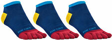 FUN TOES Men Toe Socks 3 Pairs Size 10 to 13 Shoe 6 to 12.5 Blue Multi color