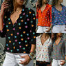 Women Casual Buttons V-Neck Loose Love Printing Long Sleeve Shirt Top Blouse