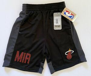 NEW NBA Miami Heat Kids Boys Jump Ball Basketball Dri Tek Gray Shorts Medium 5/6