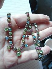 GORGEOUS VINTAGE MULTICOLOURED PASTEL CRYSTAL DROPPER NECKLACE AG19 BLING PROM