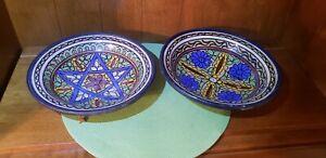 "2 Jerusalem Jordan Armenian Pottery Floral Hand Painted Bowls 10.25"""