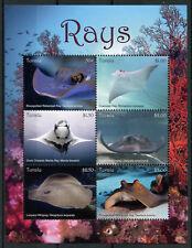 Tuvalu 2018 MNH Rays Stingrays Manta Ray 6v M/S Fish Marine Stamps