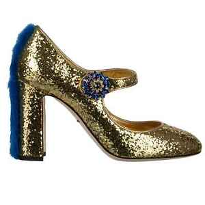 Dolce & Gabbana Glitter Mary Jane Pumps Shoes Valley With Mink Gold Blue 36