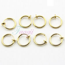 woman 1.3cm Earrings Gold Tone 8pc Yg Clip-On Hoop Fake Nose Lip Ring Spring man