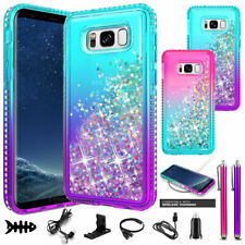 For Samsung Galaxy S8 Active/S8/S8 Plus Case, Liquid Glitter Bling Phone Cover