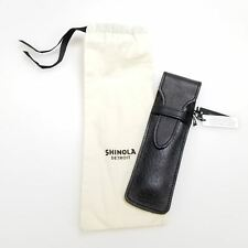 New Shinola Black Leather Flapover Single Pen Pouch Case (S0720015228) USA