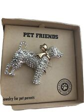 Rhinestone Dog Pin Brooch-Christmas Bow-Signed Pet Friends-New