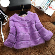 Winter Women's Real Fur Coat Jacket Ladies Rabbit Furry Parka Warm Short Outwear