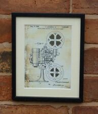USA Patent Drawing vintage MOTION PICTURE PROJECTOR FILM MOUNTED PRINT 1936 Xmas