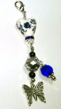 Butterfly - 1 Silicone Lanyard Ring Charm - Ceramic Heart Blue Crystals Beads