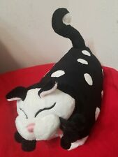 Whimsy Clay Plush Cat kitty pillow by Amy Lacombe Black White Polka Dots