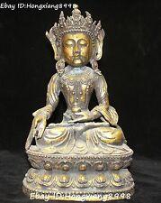 Rare Chinese Bronze Gilt Seat Kwqan-yin Guan quan Yin Shakyamuni Buddha Statue