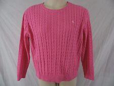 LAUREN RALPH LAUREN Womens 2X 20W 22W Pink Pullover Crewneck Cable Knit Sweater