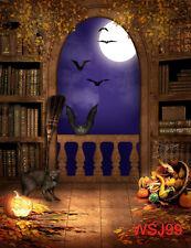 Vinyl Photography Studio Props Backdrop Background Halloween Bat Cat 5X7FT WSJ99