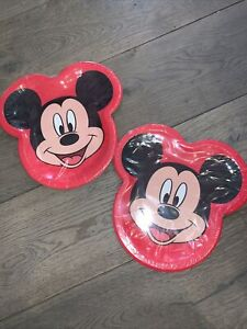 Disney Mickey Mouse Face Party Plates Birthday Supplies Lunch Set Of 16 Plates