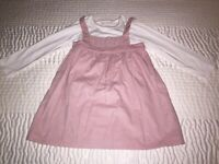 *BNWT* THE LITTLE WHITE CO 'Pink Smocked Pinny & Bodysuit' Baby Girls Size 18-24