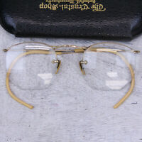 VINTAGE AMERICAN OPTICAL EYE GLASSES 1/20 12K GOLD FILLED ART DECO EMBOSSED CASE