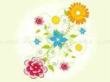 PAINTING ABSTRACT FLORAL DESIGN PATTERN FLOWERS COLOUR POSTER PRINT BMP10197