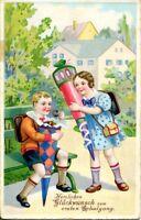 uralte AK, Herzlichen Glückwunsch zum ersten Schulgang, Kinder mit Zuckertüte