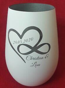 Windlicht mit Gravur Hochzeitsgeschenk Verlobung Valentinstag Geschenk Glas