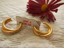 boucles d'oreilles créole doré à l'or fin 2,1 cm année 80
