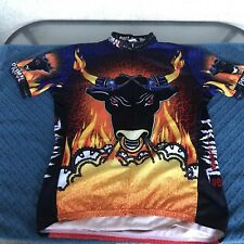 Primal Wear Mens size XL Bicycle Cycling Jersey Raging Bull 3/4 Zip Short Sleeve