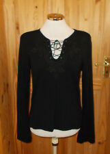 WALLIS black stretch v neck lace-up long sleeve tunic jumper top 14 42 STEAMPUNK