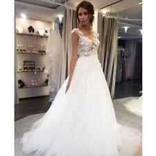 Sexy A-Line Organza Wedding Dress White/Ivory Bridal Ball Gown Custom Made 2-28