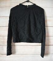 Bardot Junior Top Blouse Size Girls 16 Black Lace Floral Broderie Anglaise