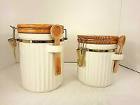 Canisters Alco Industries White Set 2 Hinged Wooden Top & Spoon Vintage