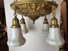 New ListingVintage Lighting 1920 brass high quality pan chandelier Rewired