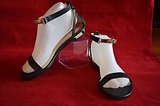 NEW BEBE Shoes Pavlina Sandals Flats w/ ankle strap Black Size 7 women's Gold