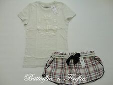 NWT Abercrombie & Fitch 2pc Pajama Set Logo Tee Shirt Plaid Sleep Shorts Cream M