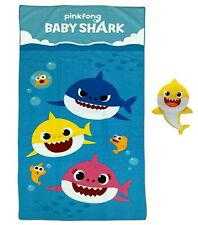 """Pinkfong Baby Shark 2 Piece 50"""" Bath Towel and Scrubby Set New & Free Shipping"""