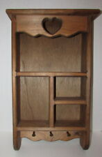 Vintage Brown Wooden Chic Shabby Country Wall Mount Shelves Figurines Keys