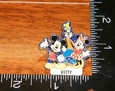 "Disney's Name Tag ""Kitty"" Hat Pin / Brooch / Lapel w/ Minnie, Mickey & Goofy!"