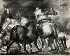 JON CORBINO Lithograph ~ ESCAPED BULL 1936 ~ Hand Signed MUSEUM PIECE