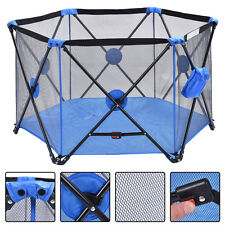 Blue Baby Play Pen Playard Portable Folding Outdoor Indoor Safety Free Standing