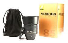 Nikon AF-S 85mm F1.8 G Nikkor Prime Lens - Front+Rear Lens Caps +Hood +Case +Box