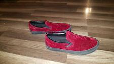 Vans red burgundy velvet slip on Shoes, Womens size 7.5, Mens size 6.