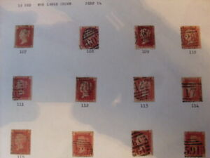 UK STAMPS QUEEN VICTORIA 1d RED QTY 12 PLATES 107-118   USED AND MOUNTED  #30