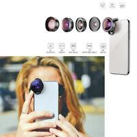 Apexel 5Pcs Smartphone Mobile Photo Lens Fish Eye Wide Angle Macro Tele