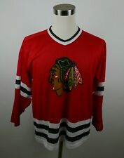 VTG NFL Chicago Blackhawks Mens Mesh Polyester LS Red Jersey by CCM USA Made M