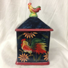 """CERTIFIED INTL SUSAN WINGET SUNRISE ROOSTER SMALL CANISTER 8 3/4"""" SUNFLOWERS"""