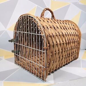 Vintage 60's Wicker Cat Carrying Carrier Large Basket w/ Leather Straps Dog Pet