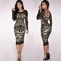 Women Prom Gown Party Bandage Dress Ladies Long Sleeve Bodycon Pencil Dress New