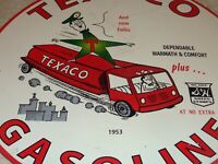 "VINTAGE 1953 TEXACO GASOLINE S & H GREEN STAMPS 11 3/4"" PORCELAIN METAL OIL SIGN"