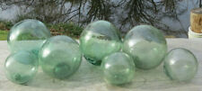 "Japanese Blown Glass Floats Lot of 7 Mixed: (4) 3-3.5""& (3) 2"" Sea Green Vntg"