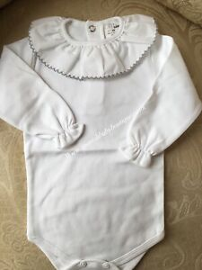 Spanish baby long sleeve 0-3 months Peter Pan frill collar vests romany