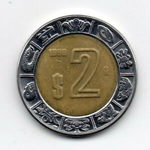 Mexico 1998, Designs from the Ring of Days on Aztec calendar, Bimetallic 2pesos